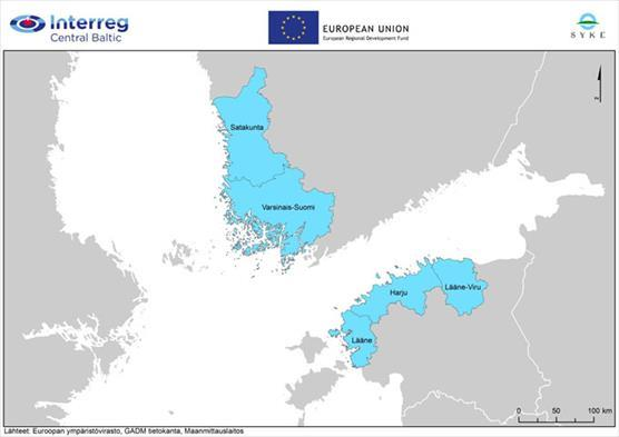 Map of the project areas in Finland and Estonia